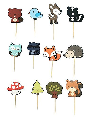 48 PCS Cute Woodland Animal Cupcake Toppers, Fineder Woodland Creatures Theme Cake Toppers for Birthday Wedding Party Decor Supplies from Fineder
