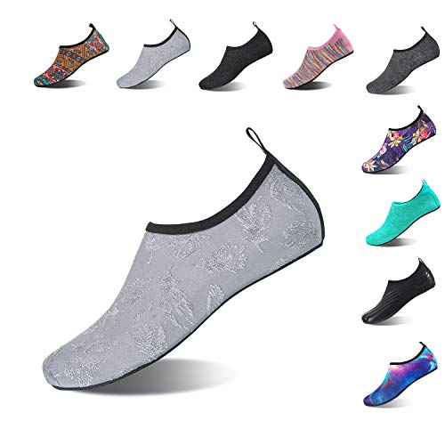 HMIYA Aqua Socks Beach Water Shoes Barefoot Yoga Socks Quick-Dry Surf Swim Shoes for Women Men (Leaf/Gray, 44/45EU)