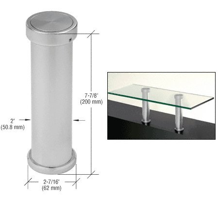 CRL Satin Chrome 7-7/8'' UV Bonded Vertical Countertop Support by C.R. Laurence