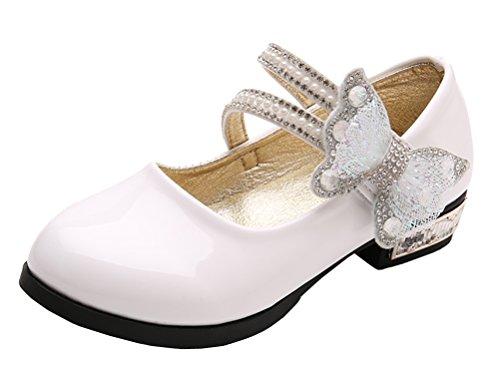 iDuoDuo Girls Sweet Bow Twinkle Rhinestone Princess Ballet Dress Flat Shoes ( 1.5 M US Little Kid , White 1 )