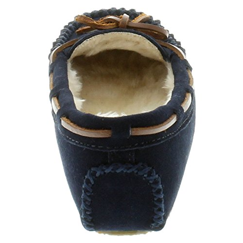 Minnetonka Slippers Womens Cally Genuine Soft Suede Dark Navy 4014