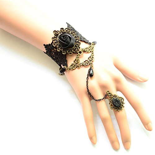 [black floral lace bracelet -Black roses and beads pendant charm Bracelet with one chain ring- gothic vintage beaded bridal] (Bride Of Dracula Costumes)