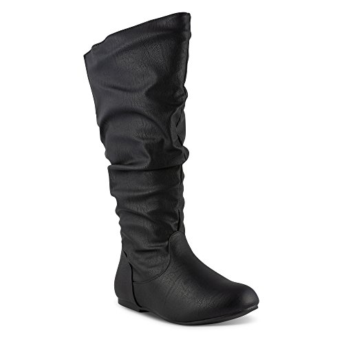 Twisted Women's Shelly Wide Width/Wide Calf Faux Leather Knee-High Scrunch Flat Riding Boot - SHELLY139P Black, Size 11