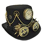 Adult Unisex Steampunk Gold Deluxe Fabric Top Hat, Vintage Victorian Style Retro Punk Rustic Gothic Motorcycle Pilot Aviator Eyewear Headgear Costume Accessories