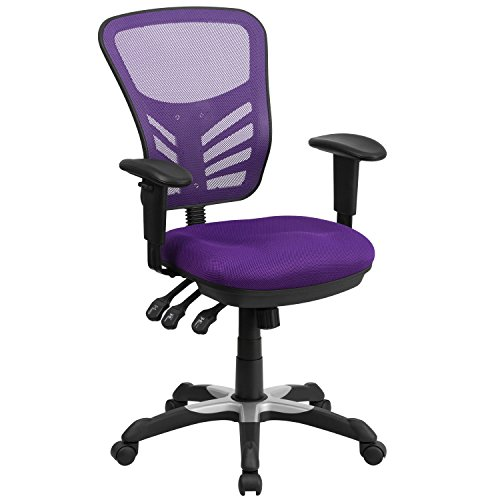 Flash Furniture Mid-Back Purple Mesh Chair with Triple Paddle Control [HL-0001-PUR-GG] ()