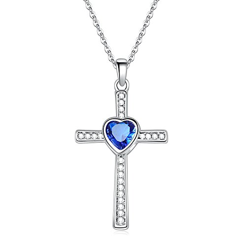YIENMALI Cross Necklace with Created Birthstones September Cross Pendant Jewelry for Women Girls (Created Blue (Blue Cubic Zirconia Pendant)