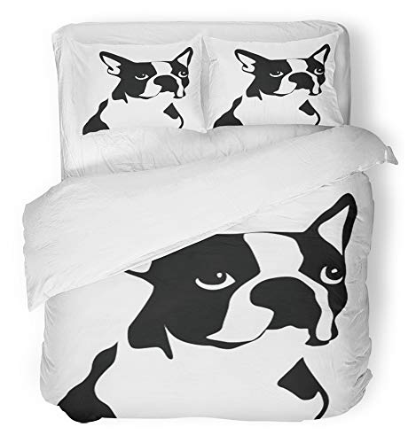 Emvency 3 Piece Duvet Cover Set Breathable Brushed Microfiber Fabric Dog Boston Terrier Black White Puppy Shelter Animal Companion Pet Bedding Set with 2 Pillow Covers King ()