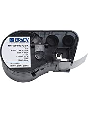 """Brady - 143375 Official (MC-500-595-YL-BK) High Adhesion Vinyl Label Tape, Black on Yellow - Designed for BMP41, BMP51 and BMP53 Label Printers - 25' Length, 0.5"""" Width"""