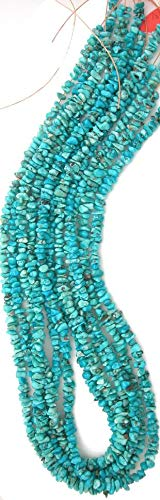 Mountain Turquoise Nugget - Rare Blue Natural Lone Mountain Turquoise 5-6mm Nugget Beads, 18in Str