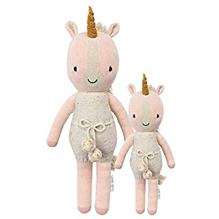 "CUDDLE + KIND Ella The Unicorn Little 13"" Hand-Knit Doll - 1 Doll = 10 Meals, Fair Trade, Heirloom Quality, Handcrafted in Peru, 100% Cotton Yarn"