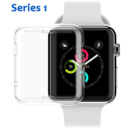 [2 Pack] Apple Watch Series 1 38mm Case, NSR iPhone Watch TPU Screen Protector All-around Protective 0.3mm HD Clear Ultra-thin Cover Case for iWatch 38mm from NSR