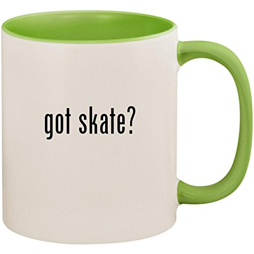 Gloves In Hockey Line (got skate? - 11oz Ceramic Colored Inside and Handle Coffee Mug Cup, Light Green)