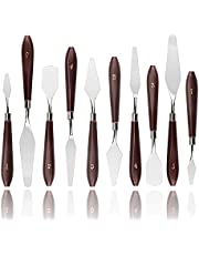 Bestgle 10pcs Stainless Steel Palette Knives Oil Painting Scraper Shovel Paint Knife with Wooden Handle for Artist Oil Painting/Oil/Acrylic/Crafts, Two Sets of 5