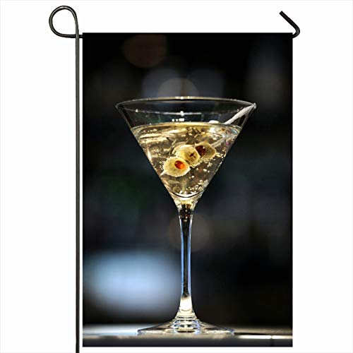 "Ahawoso Outdoor Garden Flags 12""x18"" Inch Cocktail Vodka Martini On Bar Three Olives Food Drink Shaken Alcohol Alcoholic Bond Design Vertical Double Sided Home Decorative House Yard Sign"