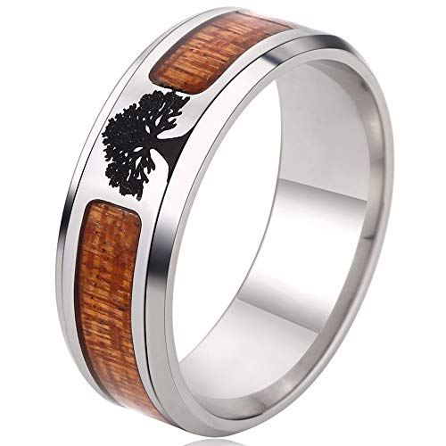 Kingray Jewelry Stainless Steel Tree of Life Wedding Band Ring (13) (Stainless Life Steel)