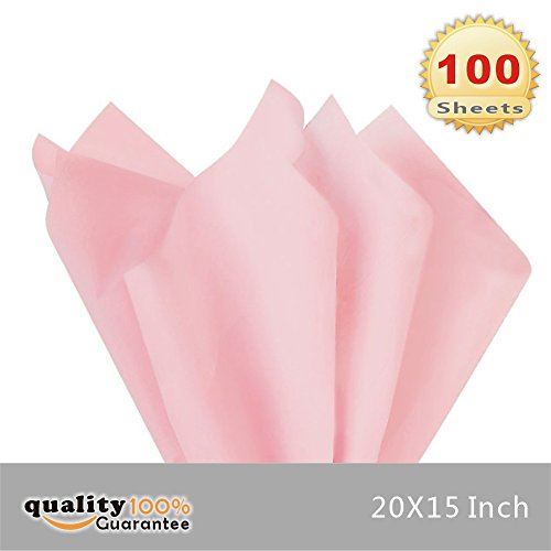 PMLAND Premium Quality Gift Wrap Tissue Paper - Pink - 15 Inches X 20 Inches 100 Sheets ()