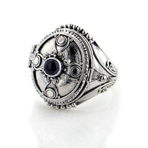- Sterling Silver Gothic Black Onyx Cross Poison Box Locket Ring Size 6(Sizes 5,6,7,8,9,10)