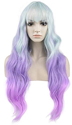 SEIKEA Long Wavy Hair Color Ombre Wig for Women with Bangs Colorful Cosplay Costume - Mermaid -