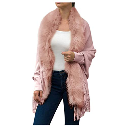 DONTAL Women Winter Knitted Cashmere Poncho Capes Shawl Cardigans Sweater Teddy Bear Coat Pink