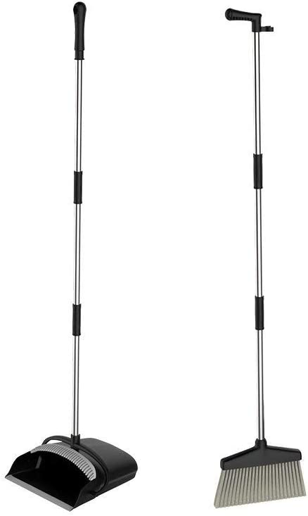 URARA Broom and Dustpan Dust Pan and Broom Combo Set/Long Handle Standing Upright Dustpan with Broom for Home Office Industry Lobby Floor Sweeping