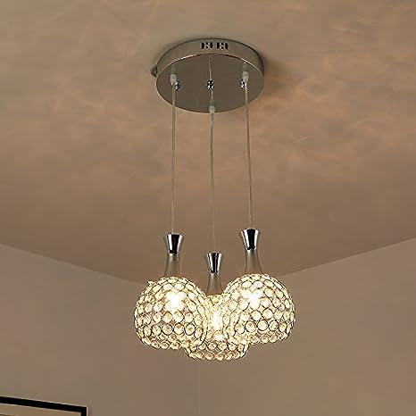 Glighone Lámpara Colgante Cristal 3*7W Lámpara de Techo Luz Moderna Lámpara de Araña Iluminación Contemporáneo Elegante, Incluye 3 Bombillas