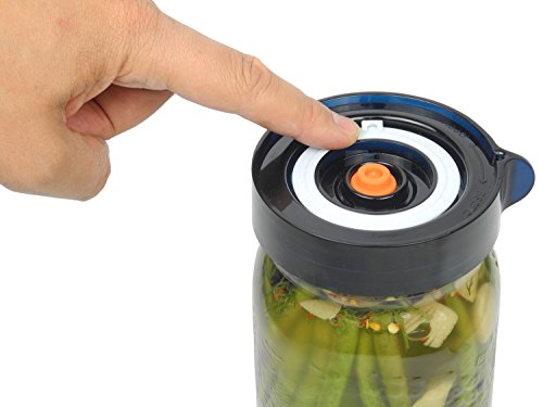 Easy Fermenter Wide Mouth Lid Kit: Simplified Fermenting In Jars Not Crock Pots! Make Sauerkraut, Kimchi, Pickles Or Any Fermented Probiotic Foods. 3 Lids, Extractor Pump & Recipe eBook - Mold Free by Nourished Essentials (Image #2)