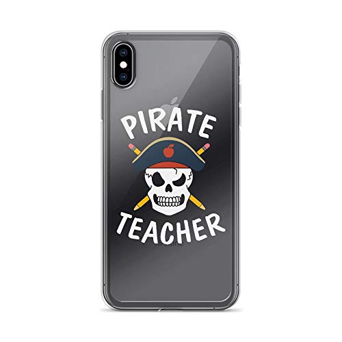 iPhone Xs Max Pure Clear Case Cases Cover Teacher Pirate Skull Pencil Funny -