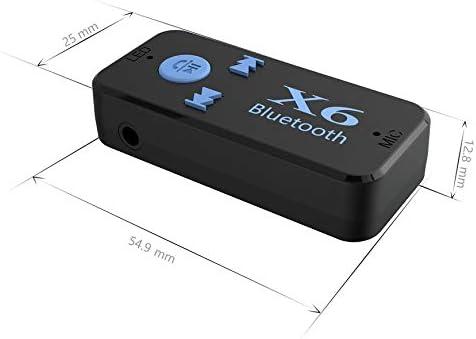 Pudincoco Car Bluetooth X6 Adaptateur r/écepteur Musique Jack 3.5mm Kit Mains Libres sans Fil avec Fonction de Lecteur de Carte TF Noir