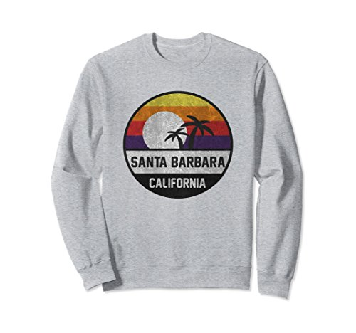 Unisex Santa Barbara Retro Sunset Vintage Sweatshirt Small Heather Grey ()