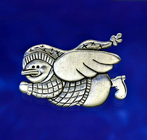 Flying Snowman Angel Pin   Christmas Pin   Snowman Pin in Fine Pewter