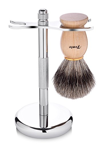 Fento Badger Hair Shaving Brush and Chrome Razor Stand
