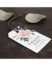 Bliss Collections Navy Floral Favor Thank You Tags — Perfect for: Wedding Favors, Baby Shower, Bridal Shower, Birthday or Special Event — 50 Pack