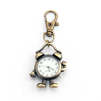 Skyllc® Llavero Metal Diseño Despertador Robot Colgante Reloj Bronce Regalo