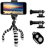 Tripod, Peyou® [Upgraded Version] 3 in 1 Octopus Style Portable and Adjustable Tripod Stand + Phone Mount Holder for iPhone Xs/Xs Max/X 8/8 Plus 7/7Plus, for Samsung Galaxy S9/S9 Plus S8/S8 Plus S7/S7 Edge Note 5, Other Phones Width Between 55mm - 85mm + Bluetooth Wireless Remote Control Shutter
