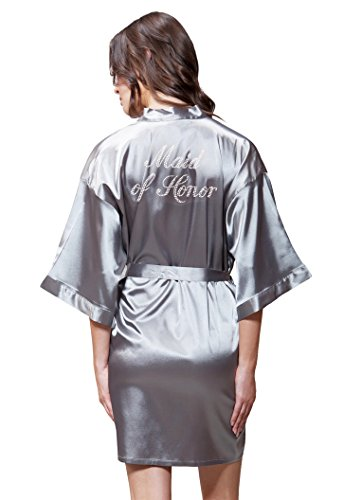 Turquaz Linen Satin Kimono Rhinestone Maid of Honor Robe (Large, Classic Gray)]()