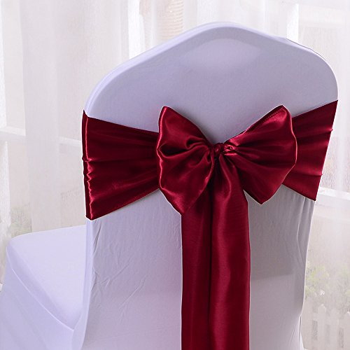 10PCS 17X275CM Satin Chair Bow Sash Wedding Reception Banquet Decoration #18 Wine Red - Ribbon Chair Cover