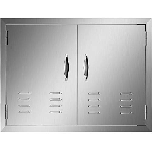 Mophorn 30 x 21 Inch Double Door Flush Mount with Vents BBQ Access Door Stainless Steel for BBQ Island Outdoor Kitchen