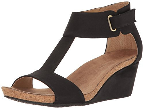 ADRIENNE VITTADINI Footwear Women's Trellis Footbed T-Strap Wedge Sandal, Black Sueded, 6 M US (Adrienne Vittadini Wedge Shoes)