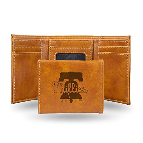 (Rico Philadelphia Phillies MLB Laser Engraved Brown Trifold Wallet)