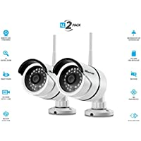 Vimtag B1 [2 Pack] White Outdoor Camera, Wi-Fi, Video Monitoring, Surveillance, Security Camera, Plug/play, Night Vision, (32 GB SD Card Pre Installed)