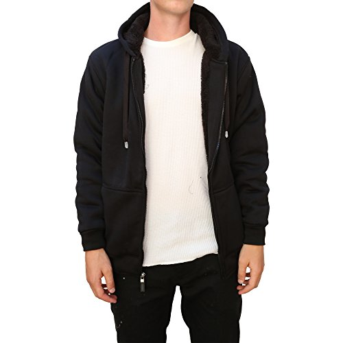 Maxxsel Mens Sherpa Heavy Polar Fleece Lined Zip Up Hoodie Jacket (Medium, Black)