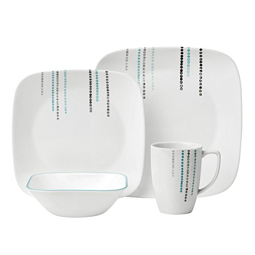 Drop Gift Set (Corelle 16 Piece Raindrops Square Dinnerware Set, White)