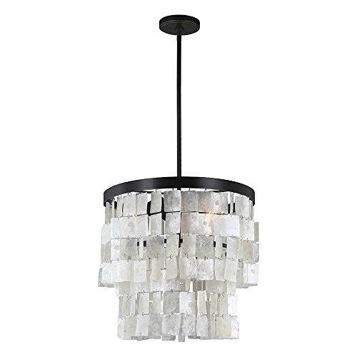 - Sea Gull Lighting 3125003-782 Corsicana Three-Light Chandelier with White Capiz Shell Panel, Heirloom Bronze Finish