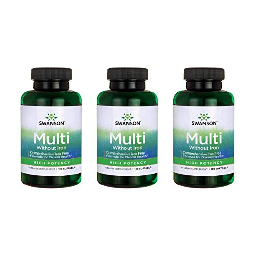 Swanson Multi Without Iron Multivitamin Health Supplement Iron-Free Formula 120 Softgels Sgels 3 Pack
