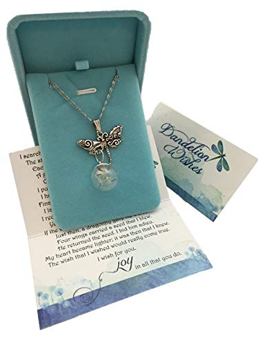 (Smiling Wisdom - A Dandelion Wish for you Story Dragonfly Set - Dragonfly with Real Dandelion Seeds Dangle Necklace - Birthday, Holiday, Goodbye Wish - for Friend Woman Teen Her - 2018 Grad)