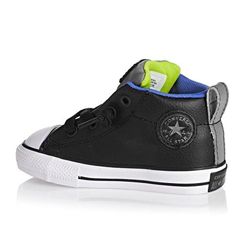 CONVERSE - Chaussure à lacets noire, en cuir, avec logo latéral et sur la languette, pointe en caoutchouc blanc, pièces grises, coutures visibles, garçon, garçons