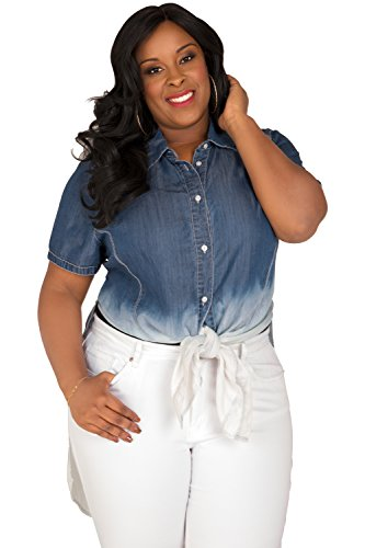 Poetic Justice Plus Size Curvy Women's Ombre Denim Button-Up Short Sleeves Shirt Size 2X