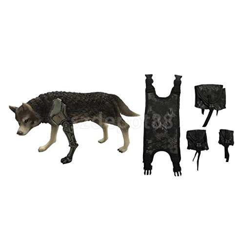 1/6th Combat Wolf Model Statue with Chest Hang Bags for 12'' Action Figure by uptogethertek