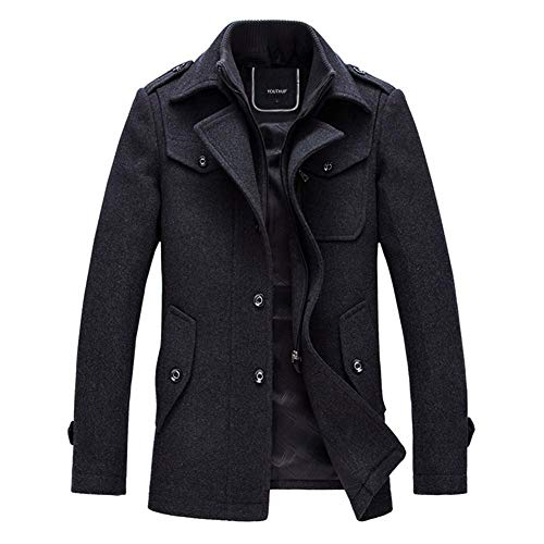 YOUTHUP Mens Wool Coats Winter Tweed Trench Coat Casual Peacoats Regular Fit Outerwear Jacket