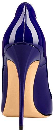 Chaussures Escarpins Bleu Caover Femme sur Glisser Aiguille 12CM Calaier xY0qwgpSn